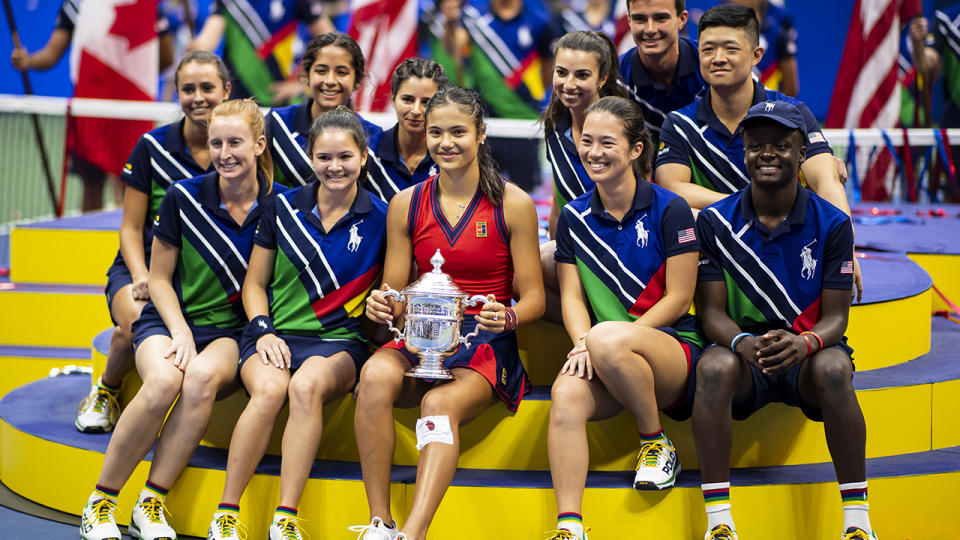 Emma Raducanu, pictured here celebrating with the US Open winner's trophy.