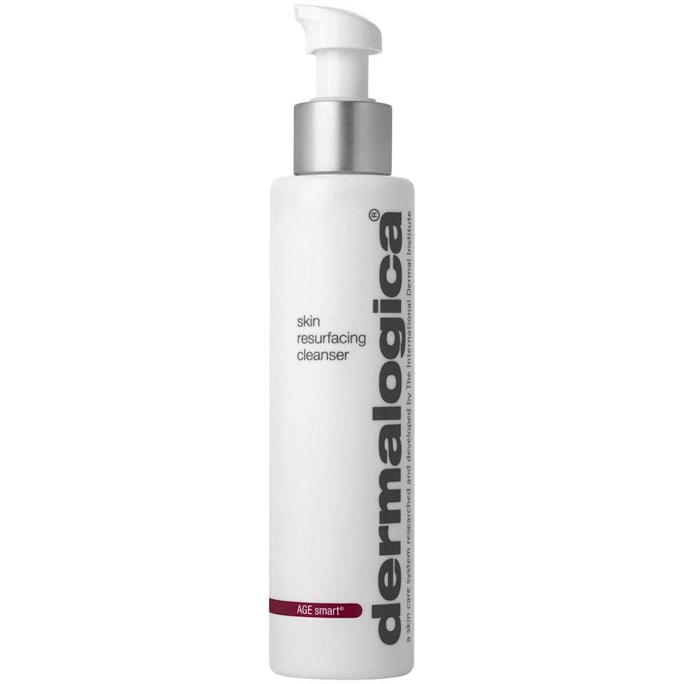 <p>This gentle exfoliating cleanser is a great option for sensitive skin, as the formula doesn't sit on the skin for a long period of time. The <span>Dermalogica Age Smart Skin Resurfacing Cleanser</span> ($45) combines lactic acid with vitamin E so that the formula won't overdry or irritate your skin as the acid gets to work clearing out clogged pores and breaking down dead skin cells on the surface of your skin. Fans of the cleanser swear it leaves their skin looking brighter, clearer, softer, and smoother with regular use.</p>