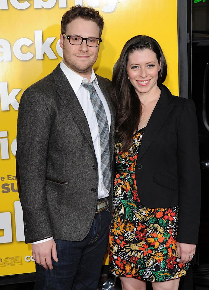 """<a href=""""http://movies.yahoo.com/movie/contributor/1804494942"""">Seth Rogen</a> and Lauren Miller attend the Los Angeles premiere of <a href=""""http://movies.yahoo.com/movie/1810097993/info"""">Paul</a> on March 14, 2011."""