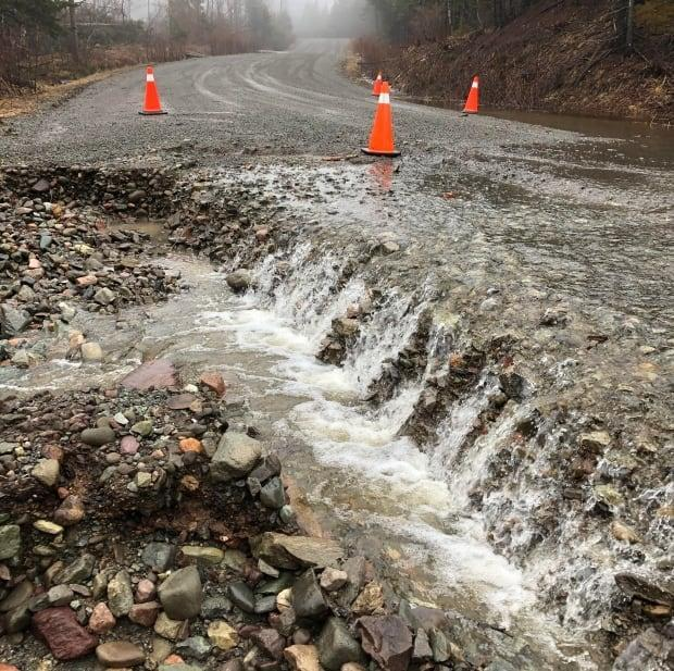 Catalone Gut Road is one of many roads in Cape Breton washed out by this weekend's storm.