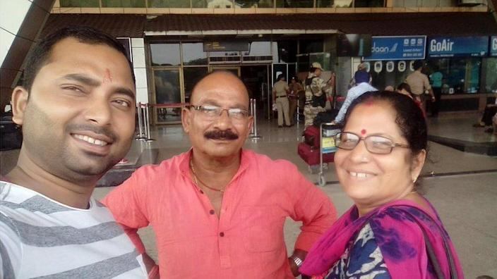 Vishal (left) with his mother, and father Gopal Singh