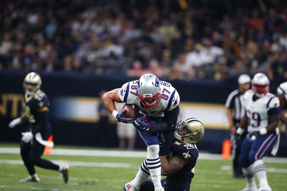 Rob Gronkowski scored his 69th career touchdown Sunday vs. the Saints. (AP Photo/Butch Dill)