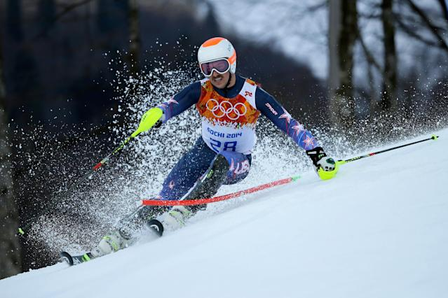 SOCHI, RUSSIA - FEBRUARY 14: Jared Goldberg of the United States competes during the Alpine Skiing Men's Super Combined Downhill on day 7 of the Sochi 2014 Winter Olympics at Rosa Khutor Alpine Center on February 14, 2014 in Sochi, Russia. (Photo by Ezra Shaw/Getty Images)