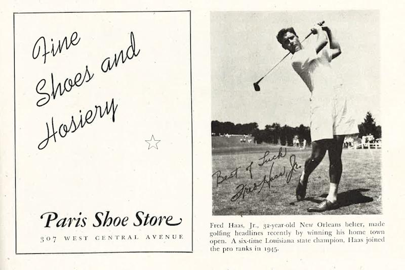 Fred Haas Jr., wearing shorts, in a golf tournament program from 1947.