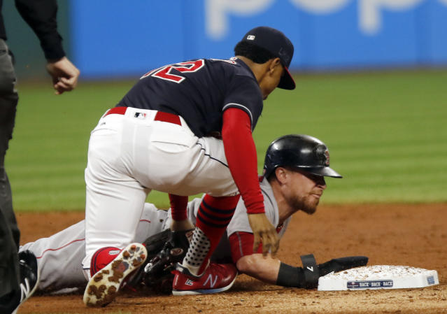Boston Red Sox's Christian Vazquez slides back into second base under the tag Cleveland Indians' Francisco Lindor on a pick off attempt in the third inning of a baseball game, Sunday, Sept. 23, 2018, in Cleveland. Chicago won 5-4. (AP Photo/Tom E. Puskar)