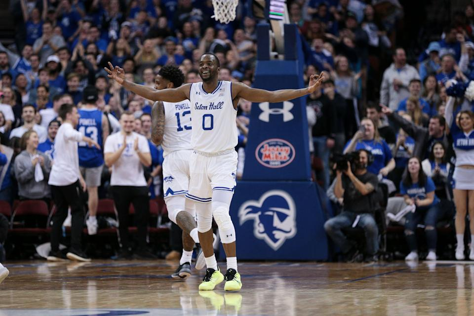 Seton Hall Pirates guard Quincy McKnight (0) reacts after scoring during a game against Georgetown. (Vincent Carchietta/USA TODAY Sports)
