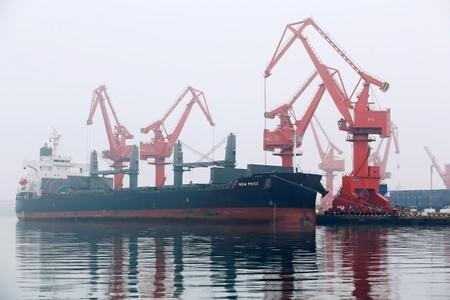A crude oil tanker is seen at Qingdao Port Shandong province