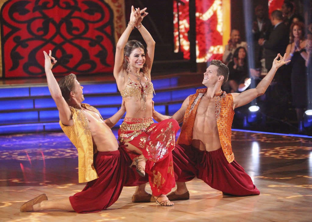 "Derek Hough, Maria Menounos and Henry Byalikov perform on ""Dancing with the Stars."""