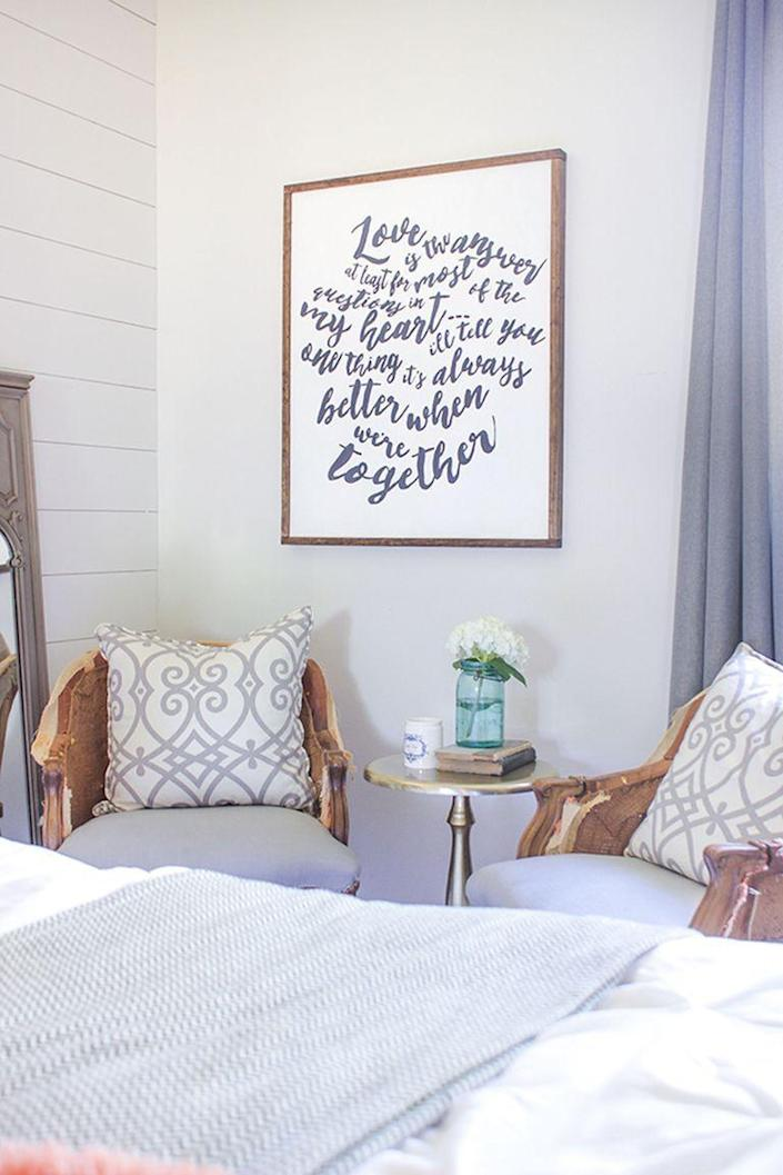 """<p>This rustic wooden wall art can be customized with any quote or saying that means something to your mom.</p><p><strong>Get the tutorial at <a href=""""http://www.shadesofblueinteriors.com/diy-wood-framed-word-art/"""" rel=""""nofollow noopener"""" target=""""_blank"""" data-ylk=""""slk:Shades of Blue Interiors"""" class=""""link rapid-noclick-resp"""">Shades of Blue Interiors</a>.</strong></p><p><strong><a class=""""link rapid-noclick-resp"""" href=""""https://go.redirectingat.com?id=74968X1596630&url=https%3A%2F%2Fwww.walmart.com%2Fip%2FCraft-and-Hobby-Wood-Burning-Art-Tool-Kit-Accessories%2F852829099&sref=https%3A%2F%2Fwww.thepioneerwoman.com%2Fholidays-celebrations%2Fgifts%2Fg32307619%2Fdiy-gifts-for-mom%2F"""" rel=""""nofollow noopener"""" target=""""_blank"""" data-ylk=""""slk:SHOP WOOD CRAFTING TOOLS"""">SHOP WOOD CRAFTING TOOLS</a><br></strong></p>"""