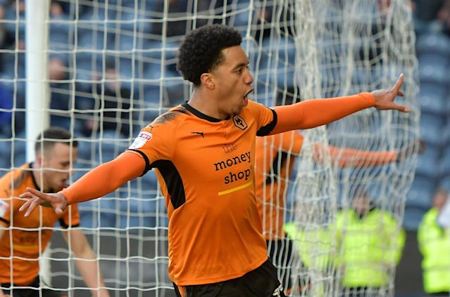 "Soccer Football - Championship - Preston North End vs Wolverhampton Wanderers - Deepdale, Preston, Britain - February 17, 2018 Wolverhampton Wanderers' Helder Costa celebrates scoring their first goal Action Images/Paul Burrows EDITORIAL USE ONLY. No use with unauthorized audio, video, data, fixture lists, club/league logos or ""live"" services. Online in-match use limited to 75 images, no video emulation. No use in betting, games or single club/league/player publications. Please contact your account representative for further details."