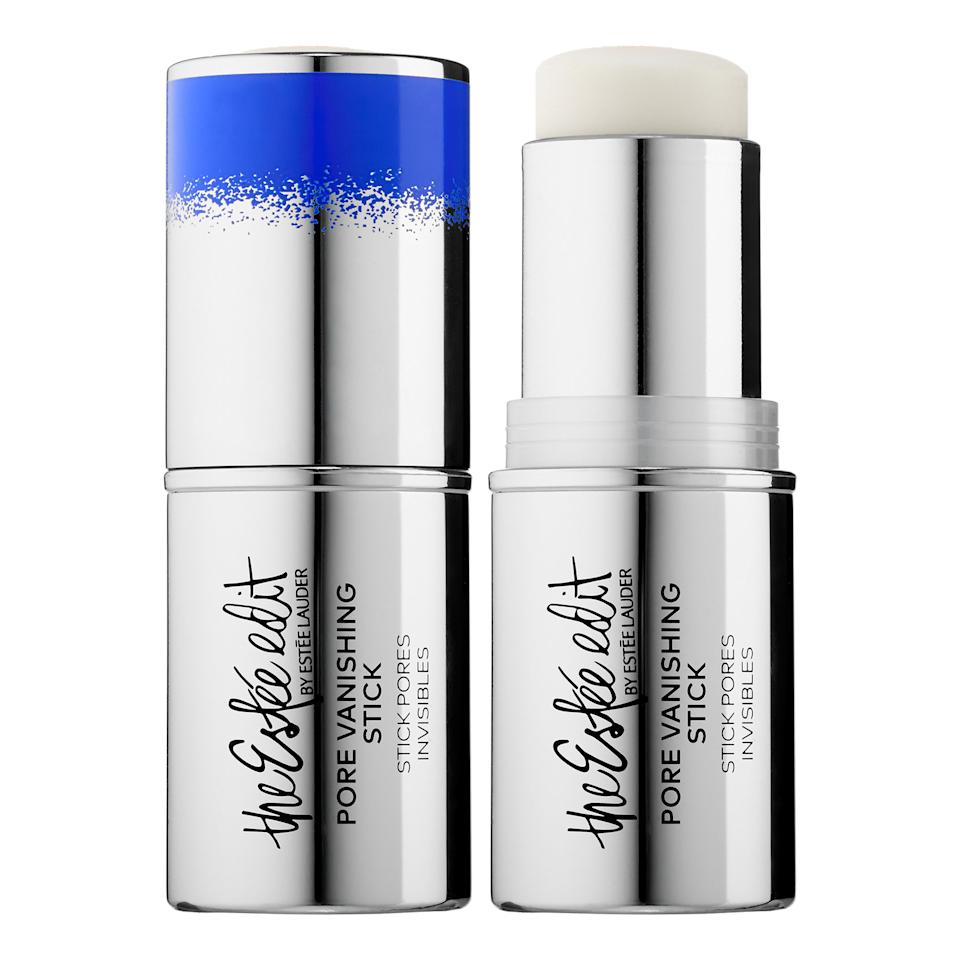 "<p>This stick glides on and will minimize the look of your pores and any shine you're experiencing. The bonus is that you can also use it alone, as a primer, and over your makeup.</p> <p>$28 | <a rel=""nofollow"" href='http://click.linksynergy.com/fs-bin/click?id=93xLBvPhAeE&subid=0&offerid=429865.1&type=10&tmpid=719&RD_PARM1=http%253A%252F%252Fwww.sephora.com%252Fpore-vanishing-stick-P406534%253FskuId%253D1802917%2526icid2%253Destee_edit_bestsellers_carousel%253Ap40653'>SHOP IT</a></p>"