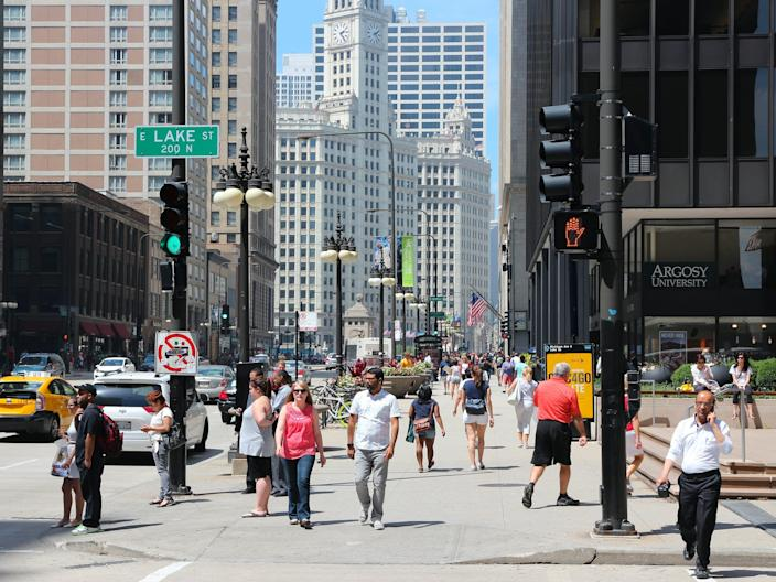 a busy intersection in Chicago