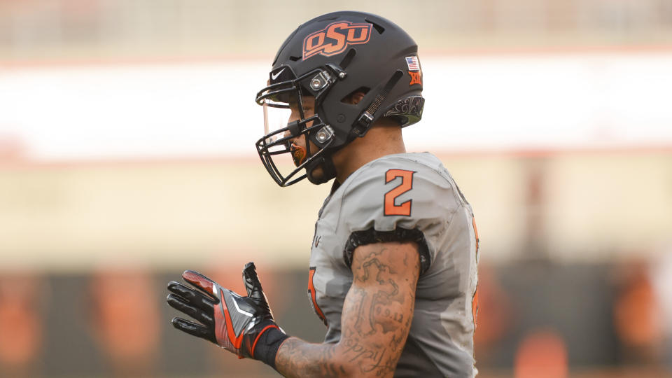 Oklahoma State wide receiver Tylan Wallace has been one of the best vertical threats in college football since 2018. (AP Photo/Brody Schmidt)