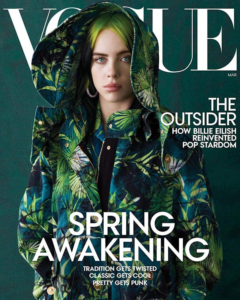 Billie Eilish on the cover of Vogue. (Photo: Ethan James Green for Vogue)