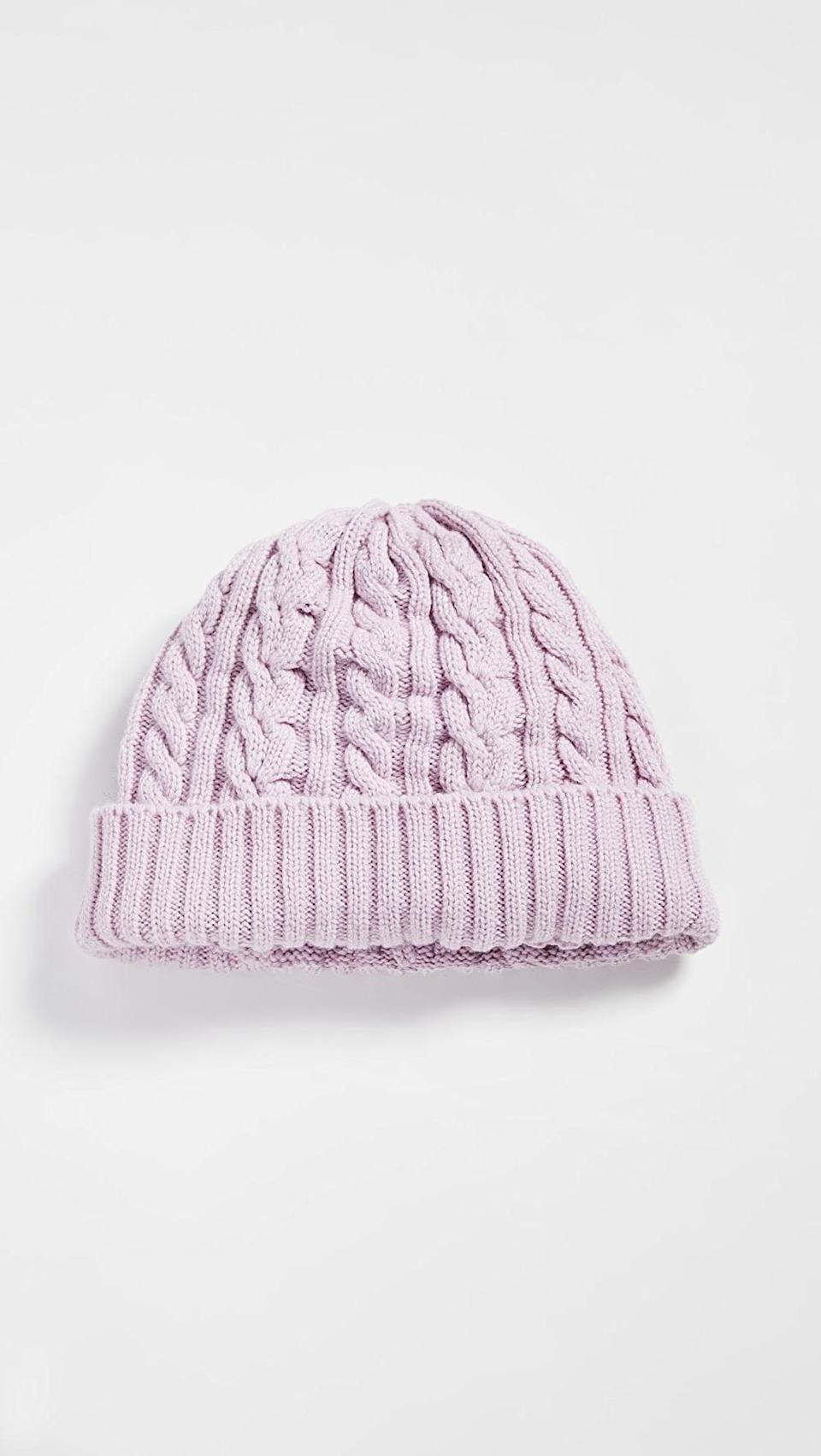 <p>Think pink with this <span>Rosie Sugden Cable Knit Beanie</span> ($110).</p>