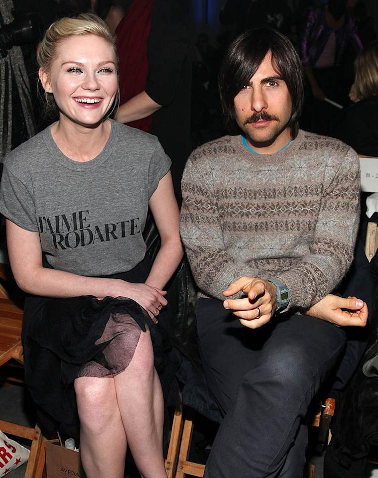 "Kirsten Dunst (in a Rodarte t-shirt) and Jason Schwartzman -- who was wearing a so-dorky-it's-cool sweater -- caught up at the Rodarte show. Astrid Stawiarz<a href=""http://www.gettyimages.com/"" target=""new"">GettyImages.com</a> - February 16, 2010"
