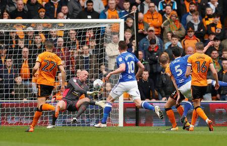 Soccer Football - Championship - Wolverhampton Wanderers vs Birmingham City - Molineux Stadium, Wolverhampton, Britain - April 15, 2018 Wolverhampton Wanderers' John Ruddy makes a save Action Images via Reuters/Andrew Boyers