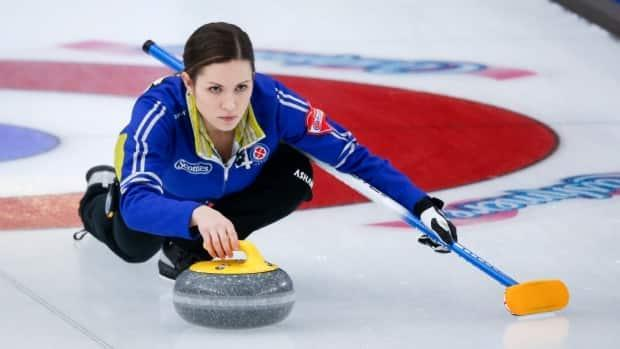 Skip Laura Walker, seen here on Feb. 24, needed only eight ends to beat Team Casey Scheidegger 9-4 at an Olympic trial qualifier on Thursday in Ottawa. (Jeff McIntosh/The Canadian Press - image credit)