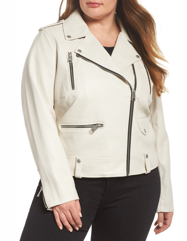 "Behold, the no-brainer accent to your favorite black skinny jeans and boots. You're welcome. $118, Nordstrom. <a href=""https://www.nordstrom.com/s/levis-lamb-touch-faux-leather-moto-jacket-plus-size/4842013?"" rel=""nofollow noopener"" target=""_blank"" data-ylk=""slk:Get it now!"" class=""link rapid-noclick-resp"">Get it now!</a>"