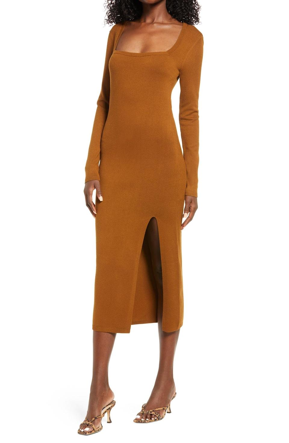 <p>I love a good square-neck look, so this <span>Open Edit High Slit Midi Sweater Dress</span> ($69) immediately caught my attention. The side slit amps up the oomph. </p>