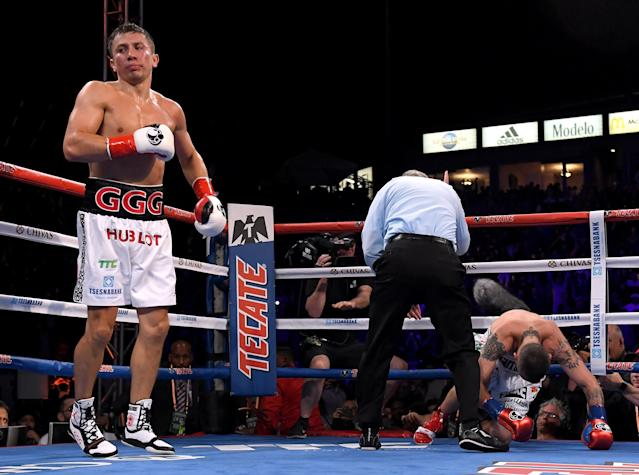Gennady Golovkin reacts as Vanes Martirosyan is counted out in the second round Saturday night. (Getty Images)
