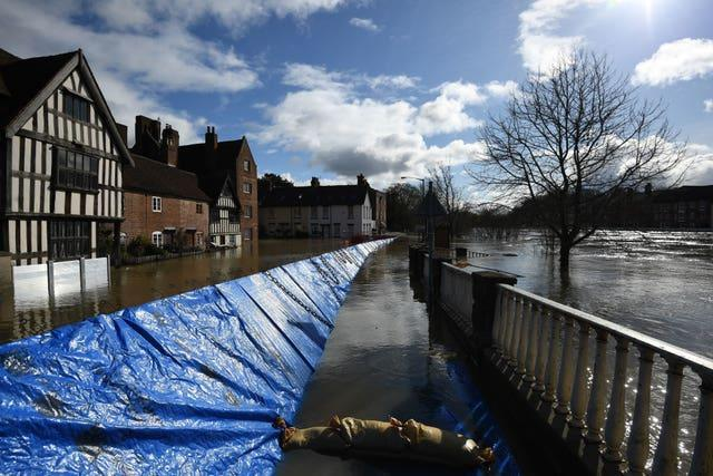 Temporary flood defences in Bewdley, Worcestershire (Joe Giddens/PA)