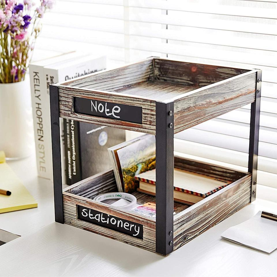 <p>You can customize the labels on this <span>Industrial Style Torched Wood Desktop Tray</span> ($43) - genius!</p>