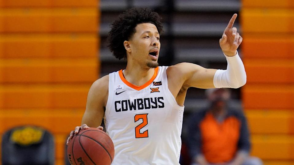 Oklahoma State guard Cade Cunningham (2) during of an NCAA college basketball game against Kansas State.