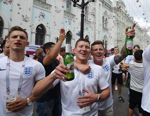 <p>Plenty of beers have been consumed in the hours before kick-off. </p>