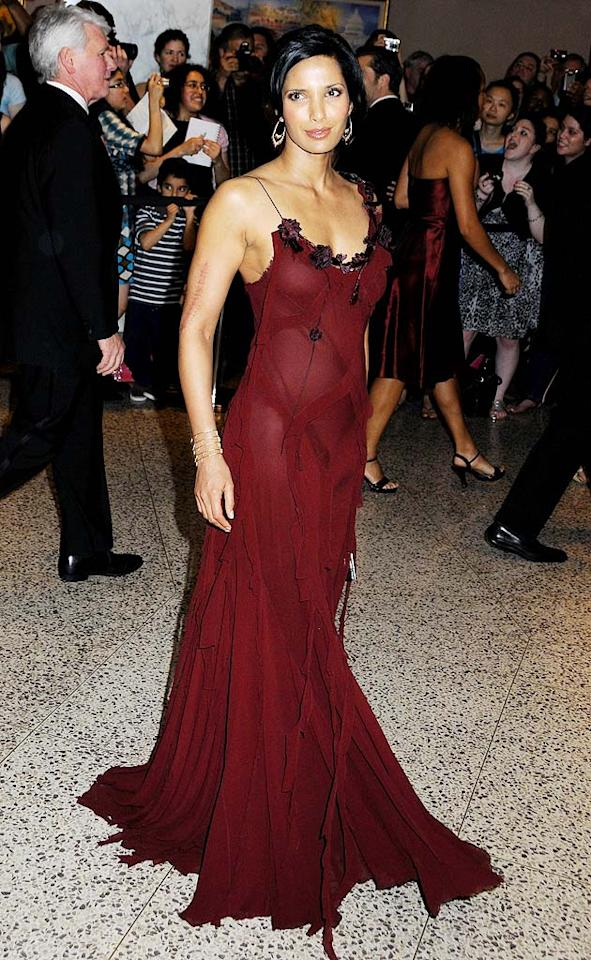 "Padma Lakshmi sizzled in this see-thru scarlet number. Janet Mayer/<a href=""http://www.splashnewsonline.com"" target=""new"">Splash News</a> - May 9, 2009"