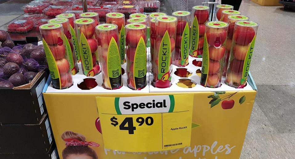 An image of the packaged apples faced the wrath of the internet after being shared to Reddit. Source: Reddit