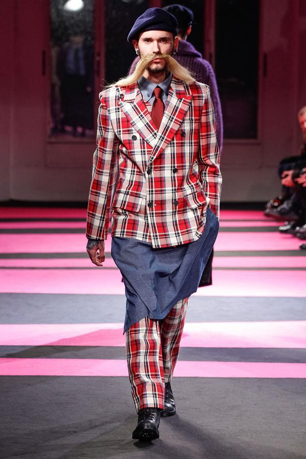 Berlin Fashion Week: Plaid blazers and bizarre 'taches made the Yamamoto show a standout ©Rex
