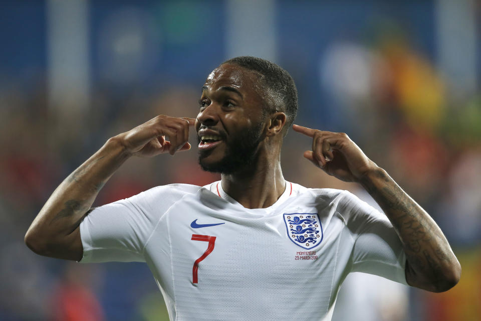 England's Raheem Sterling celebrates scoring his side's fifth goal during the Euro 2020 group A qualifying soccer match between Montenegro and England at the City Stadium in Podgorica, Montenegro, Monday, March 25, 2019. (AP Photo/Darko Vojinovic)