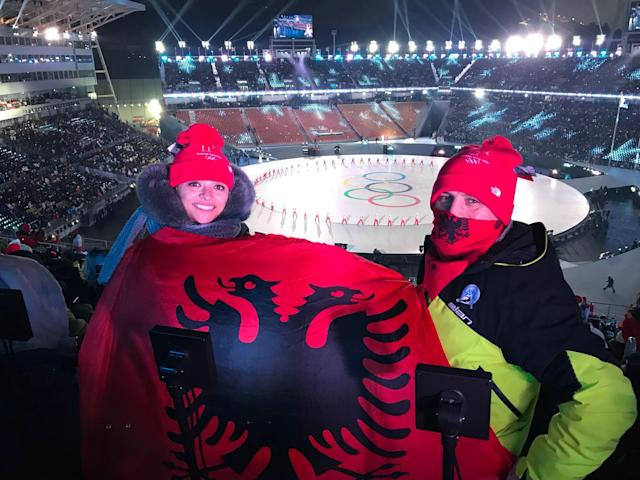Besnik Sokoli and his wife Fiona attended the Opening Ceremonies in PyeongChang. (Courtesy of Besnik Sokoli)