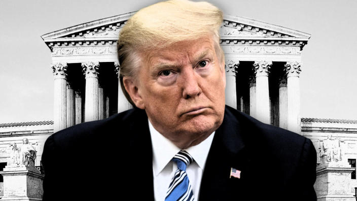 President Trump and the Supreme Court building. (Photo illustration: Yahoo News; photos: AP, Getty Images)