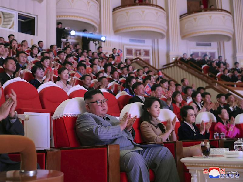 North Korean leader Kim Jong-un (centre) is shown sitting close to his aunt Kim Kyong-hui (second from right) on official state media pictures: AP