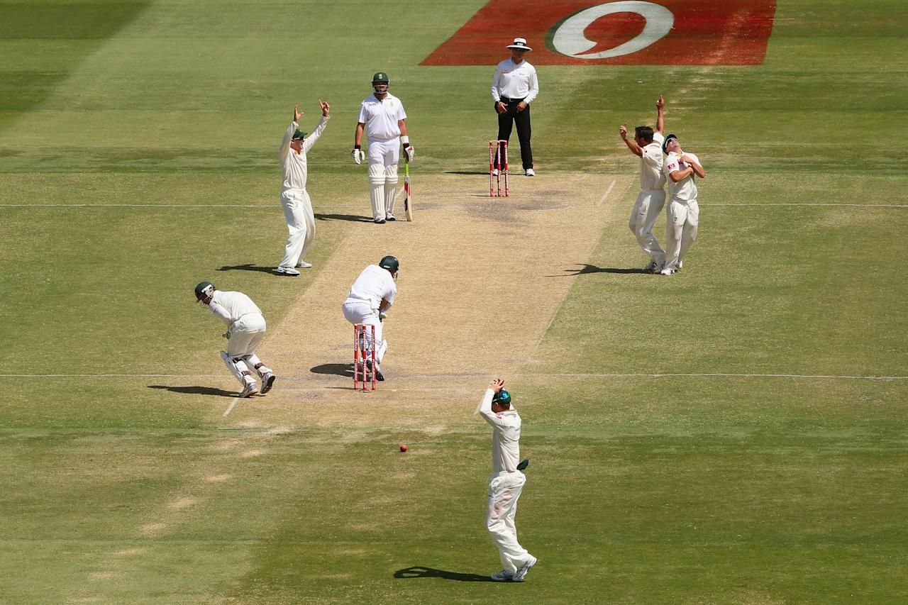 ADELAIDE, AUSTRALIA - NOVEMBER 26: Ben Hilfenhaus of Australia collides with team mate David Warner as he prematurely celebrates a catch off his delivery that is dropped by wicket keeper Matthew Wade during day five of the Second Test Match between Australia and South Africa at Adelaide Oval on November 26, 2012 in Adelaide, Australia.  (Photo by Cameron Spencer/Getty Images)