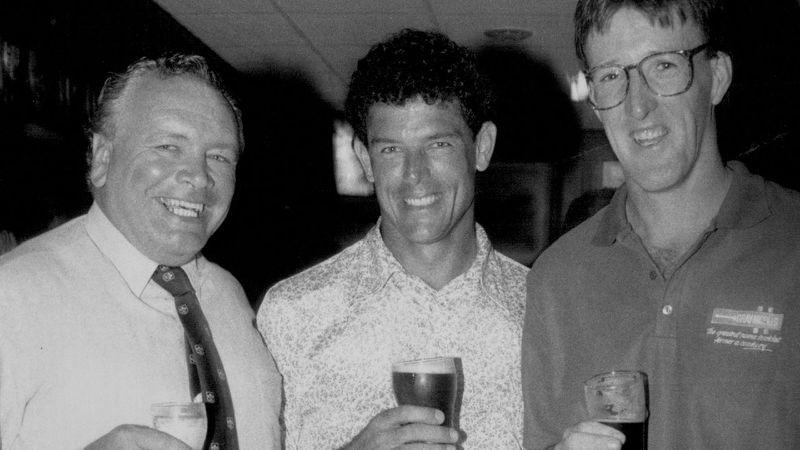 Jeff Sayle, Michael Whitney and Geoff Lawson in 1991. (Photo by Philip Wayne Lock/Fairfax Media via Getty Images)