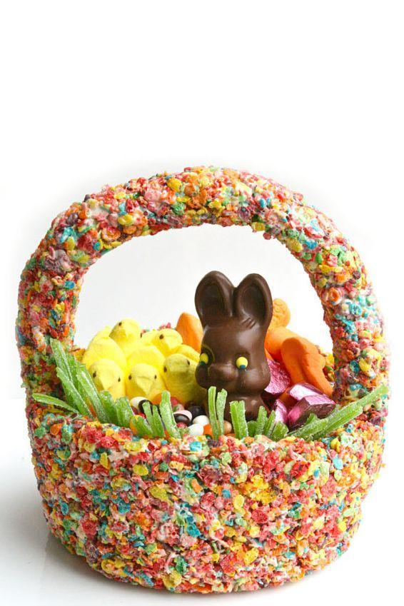 """<p>Your kids will be delighted with this homemade Easter basket that is — wait for it — completely edible. Fruity Pebbles for the win! </p><p><a href=""""https://www.goodhousekeeping.com/holidays/easter-ideas/a19127/cereal-easter-basket/"""" rel=""""nofollow noopener"""" target=""""_blank"""" data-ylk=""""slk:Get the tutorial for Edible Cereal Easter Baskets »"""" class=""""link rapid-noclick-resp""""><em>Get the tutorial for Edible Cereal Easter Baskets »</em></a>  </p>"""