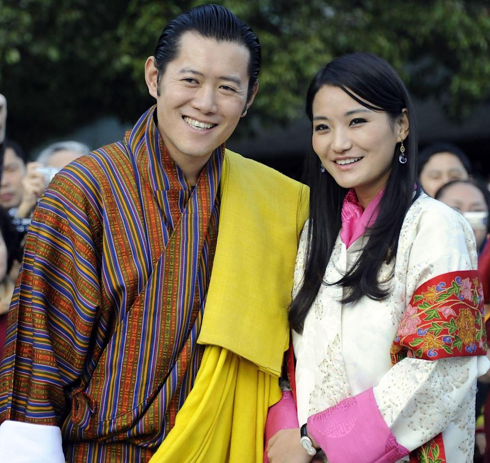"<p>After meeting Jetsun Pema, the University of Oxford-educated ""Dragon King"" of Bhutan ended some 100 years of tradition when he renounced his right to marry more than one wife. The couple reportedly dated and lived together for three years before getting engaged in 2011. On the day of their wedding, which took place in a 17th century fortress, <a href=""http://us.hellomagazine.com/royalty/201110136326/king-of-bhutan-royal-wedding-royal-jetsun-pema-jigme-khesar/"" rel=""nofollow noopener"" target=""_blank"" data-ylk=""slk:the King told the media of his new wife"" class=""link rapid-noclick-resp"">the King told the media of his new wife</a>, ""She is a wonderful human being. Intelligent… It doesn't matter when you get married as long as it is the right person. I am certain I have married the right person.""</p>"