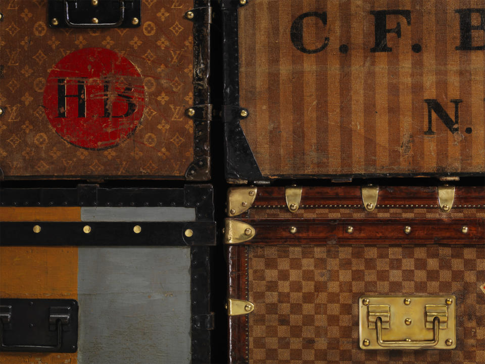 Louis Vuitton trunks with a variety of canvas designs. - Credit: Patrick Gries