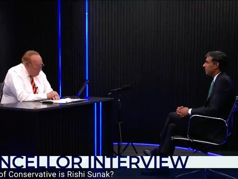 Andrew Neil grills the chancellor on Wednesday night (GB News)