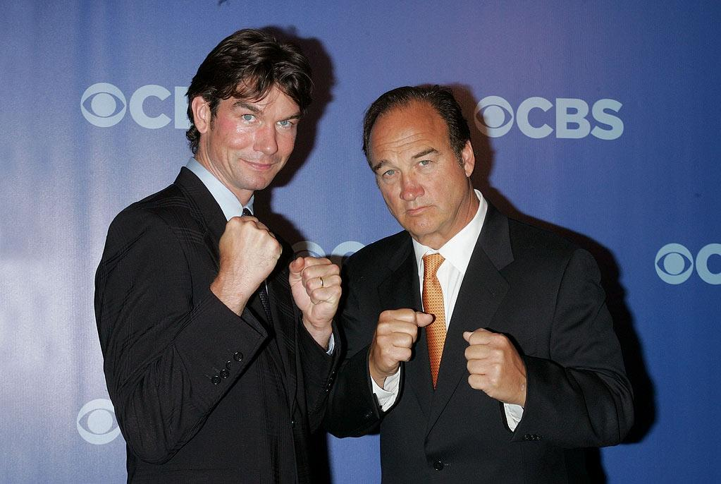 """<a href=""""/jerry-o-39-connell/contributor/28649"""">Jerry O'Connell</a> and <a href=""""/james-belushi/contributor/28747"""">Jim Belushi</a> (""""The Defenders"""") attend the 2010 CBS Upfront at The Tent at Lincoln Center on May 19, 2010 in New York City."""