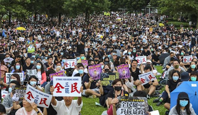 People attend a rally during a strike in Hong Kong in September. Photo: Felix Wong