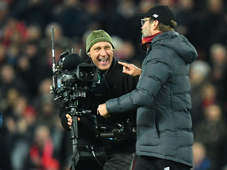 Jurgen Klopp speaks into the camera at Anfield (Getty)