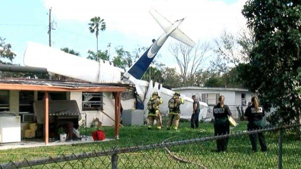 PHOTO: A small aircraft with two people onboard crashed into a home in Winter Haven, Fla, Feb. 23, 2019. (WFTS)