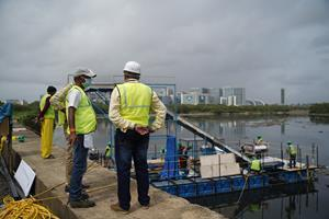 RiverRecycle's India representative Yash Dadhwadia on the site of the installation of the river cleaning system.