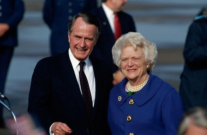 From left: George H. W. and Barbara Bush in 1993