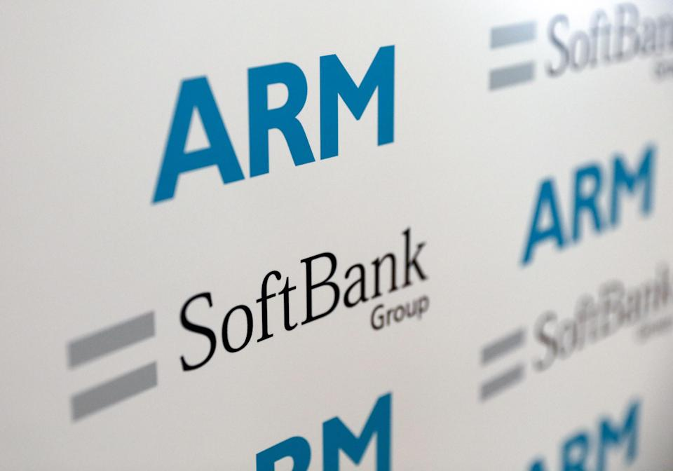 Logos of ARM Holdings Plc and SoftBank Group Corp sit on a background during a news conference in London, U.K., on Monday, July 18, 2016. SoftBank Group Corp. agreed to buy ARM Holdings Plc for 24.3 billion pounds ($32 billion), securing a slice of virtually every mobile computing gadget on the planet and future connected devices in the home. Photographer: Chris Ratcliffe/Bloomberg via Getty Images