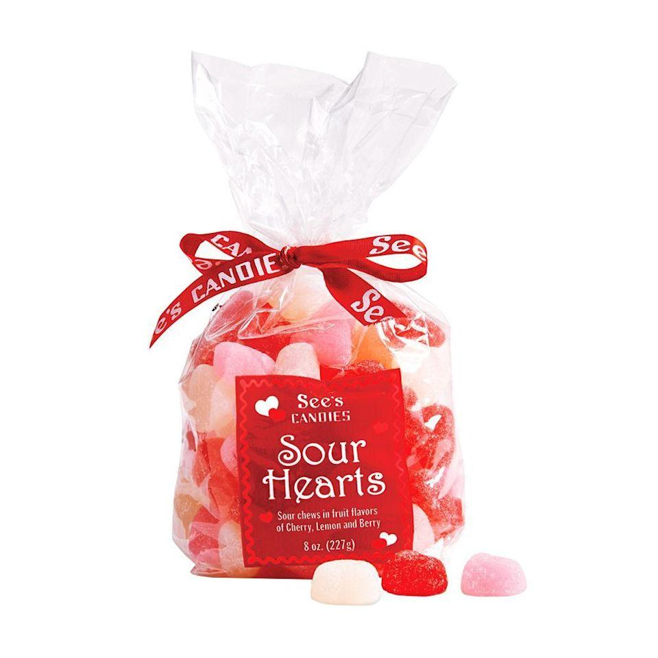 """<p><strong>See's</strong></p><p>sees.com</p><p><strong>$8.00</strong></p><p><a href=""""https://www.sees.com/valentines-day-gifts/sour-hearts/200541.html"""" rel=""""nofollow noopener"""" target=""""_blank"""" data-ylk=""""slk:Shop Now"""" class=""""link rapid-noclick-resp"""">Shop Now</a></p><p>These lemon-, cherry-, and berry-flavored jelly hearts are just the right mix of sweet and sour. They are great to give as a non-romantic gift option, too!</p>"""
